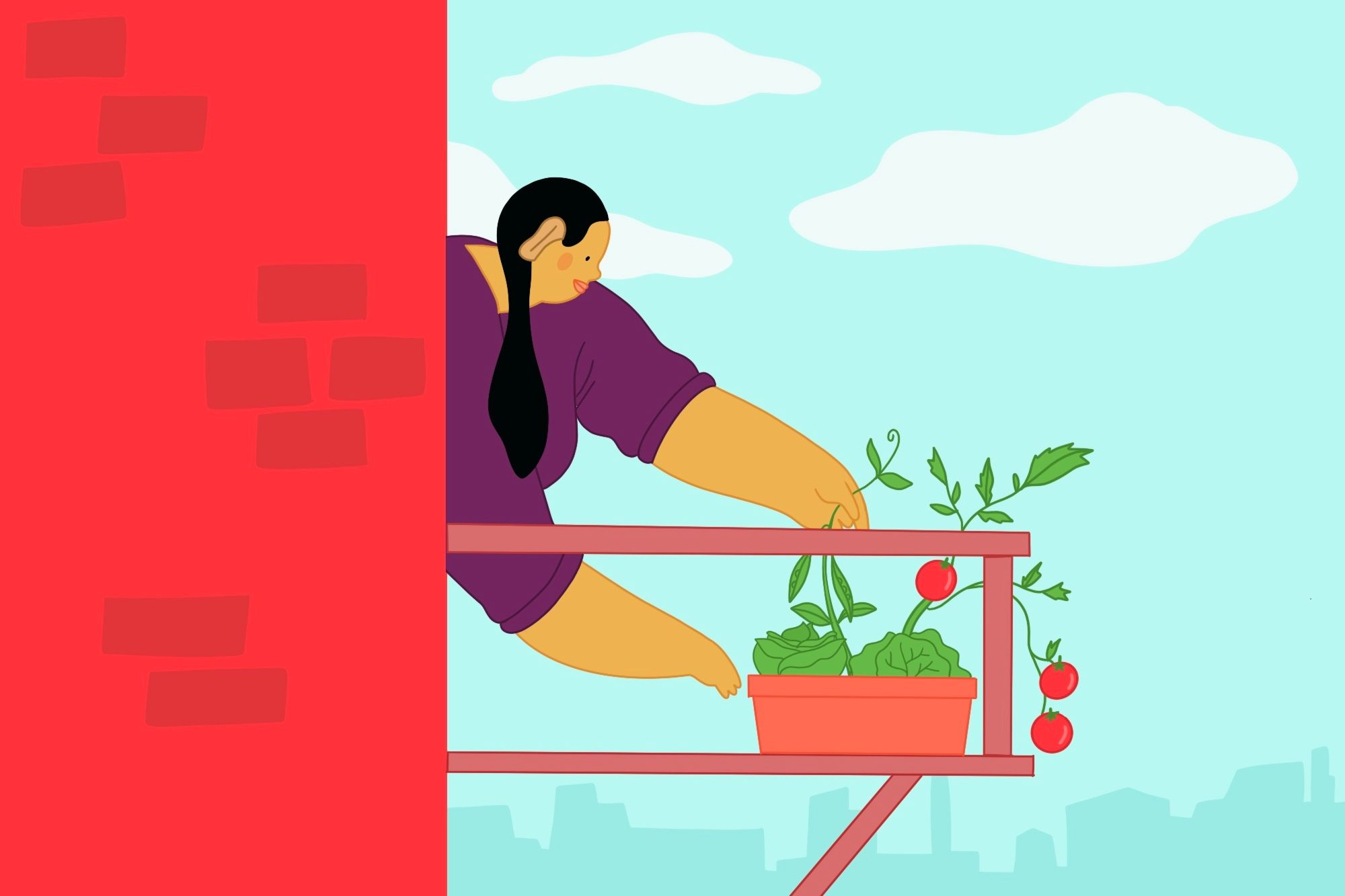 illustration of a woman tending plants growing in pots on a balcony