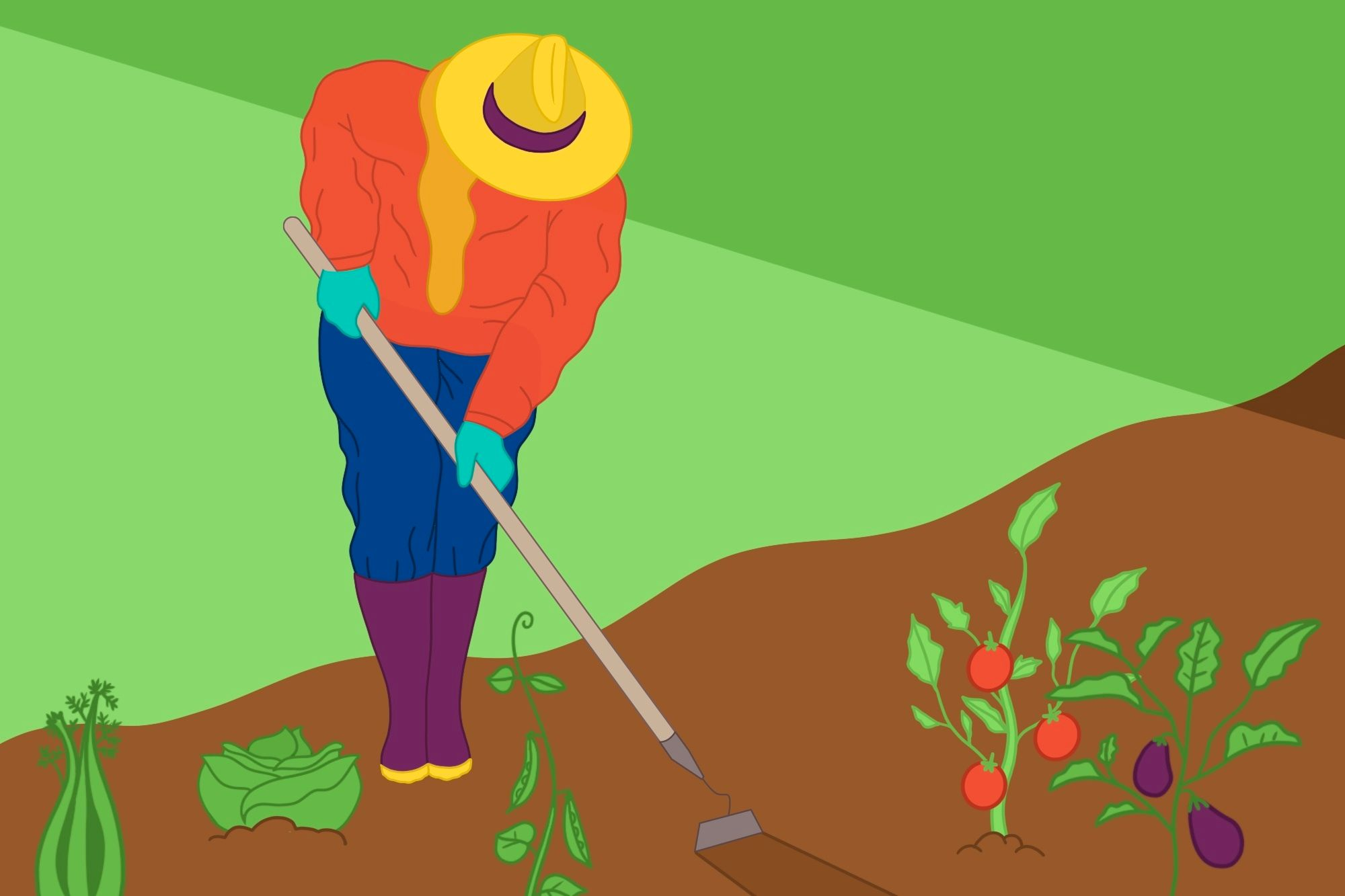 illustration of a woman tending a garden bed