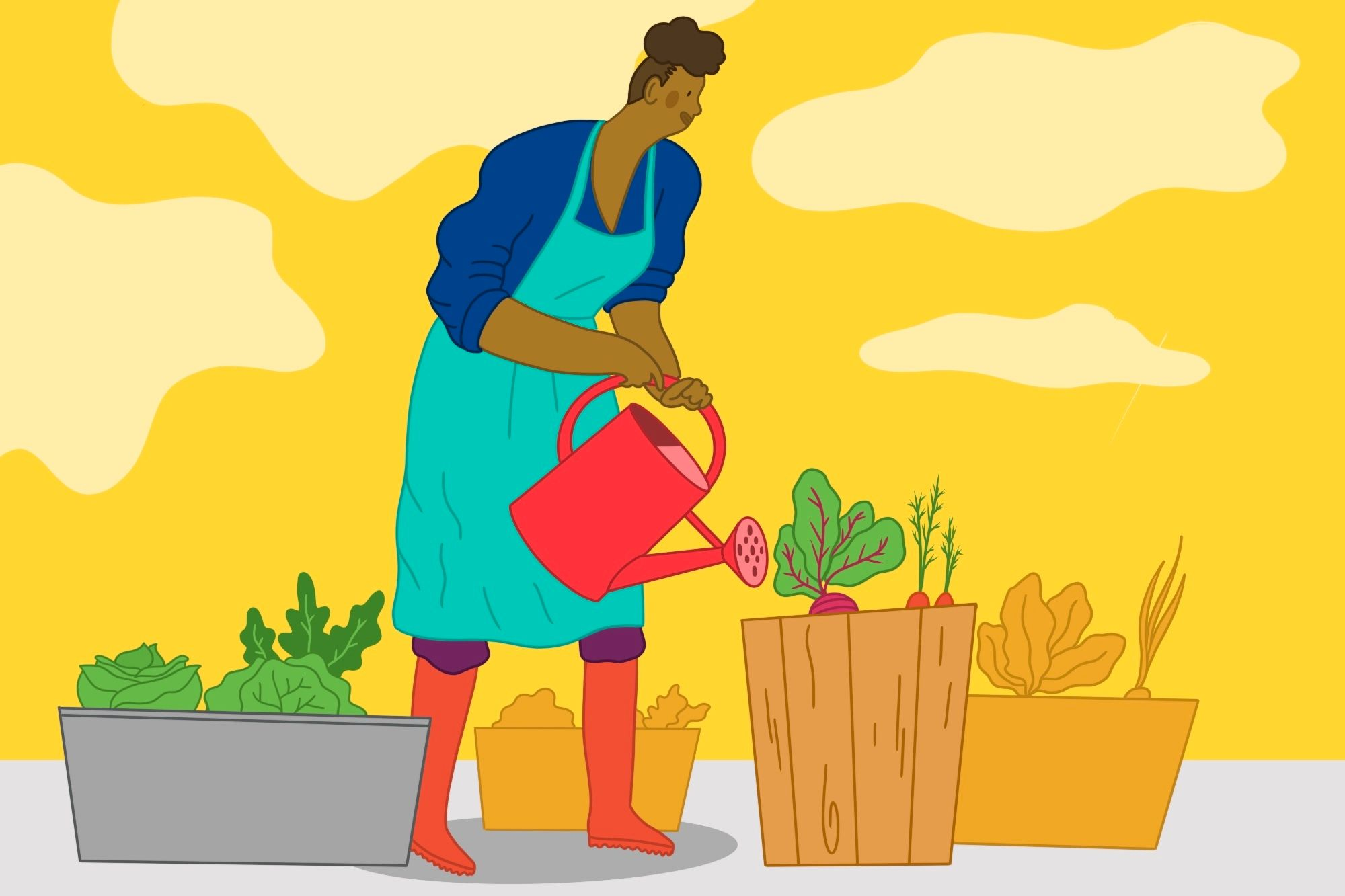 illustration of a woman watering a container garden