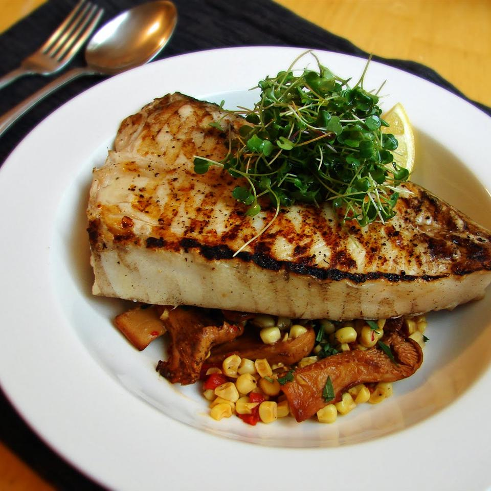 grilled halibut over corn salsa with mushrooms