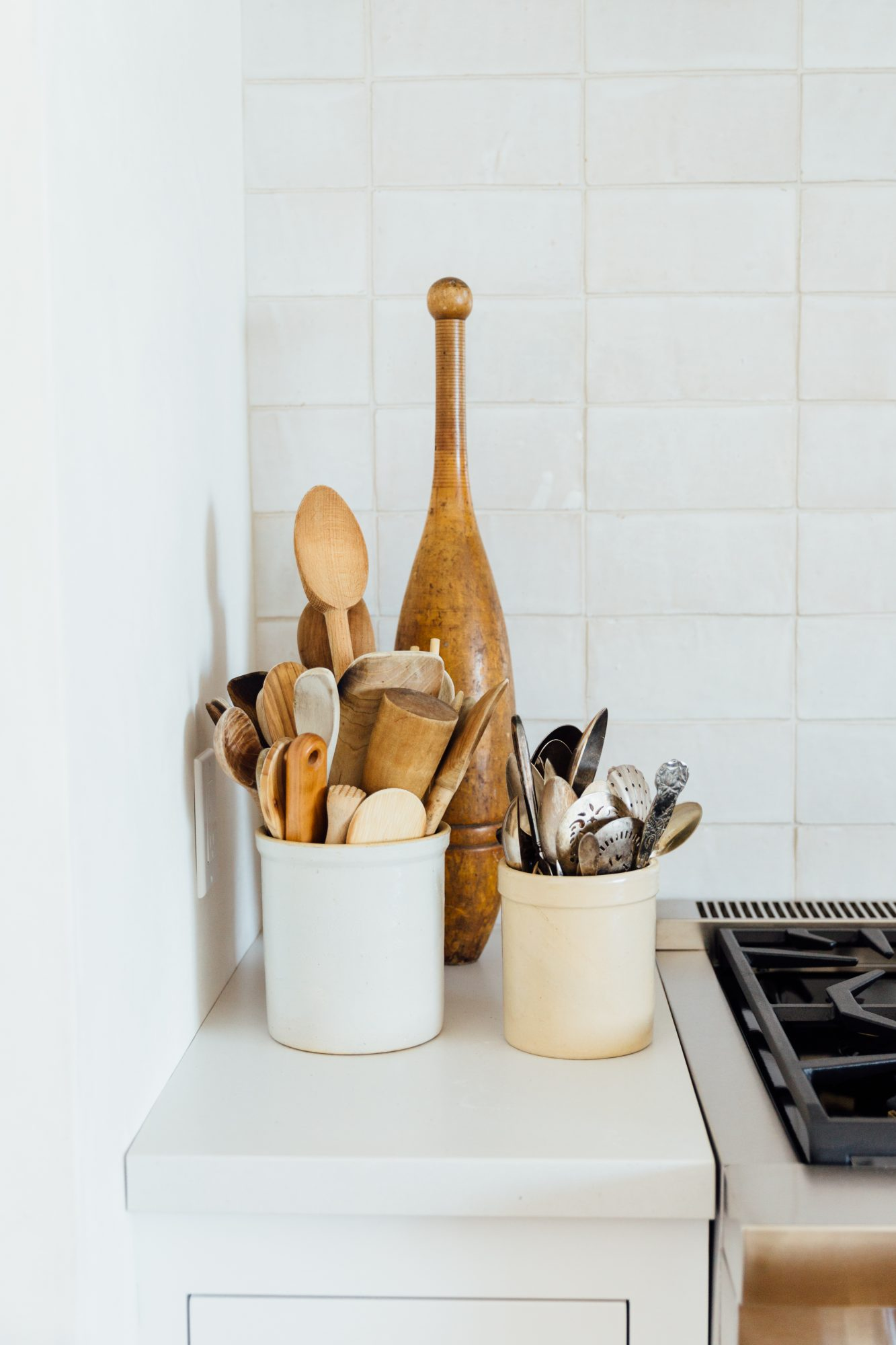 Kitchen Countertop Styling Crocks and Canisters