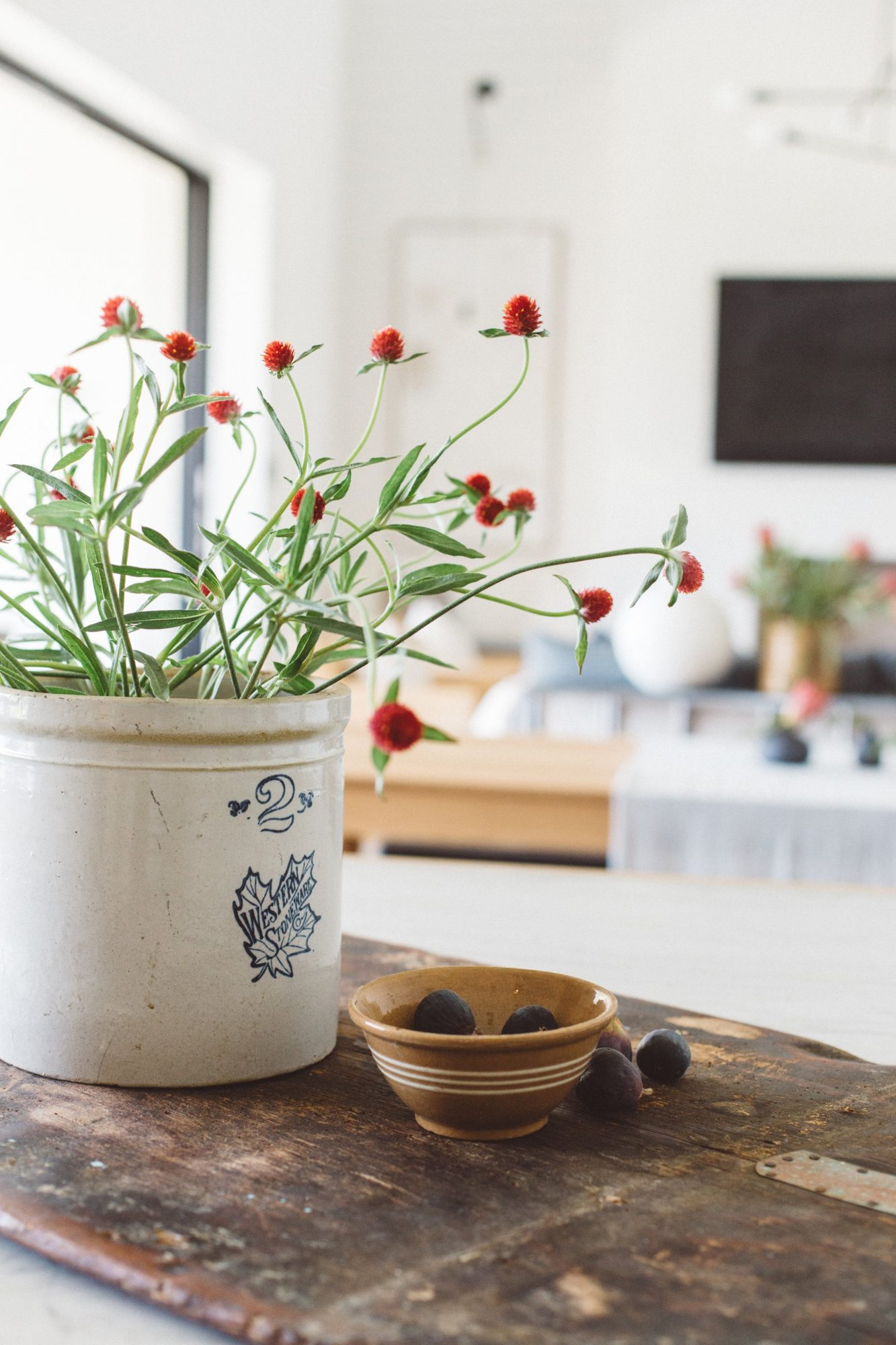Kitchen Counter Styling Flowers