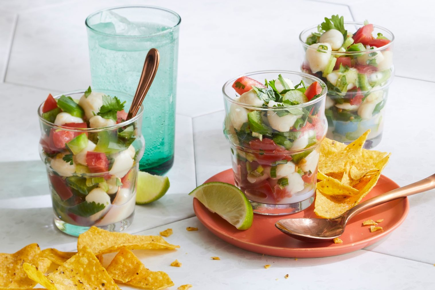 individual servings of ceviche with tortilla chips