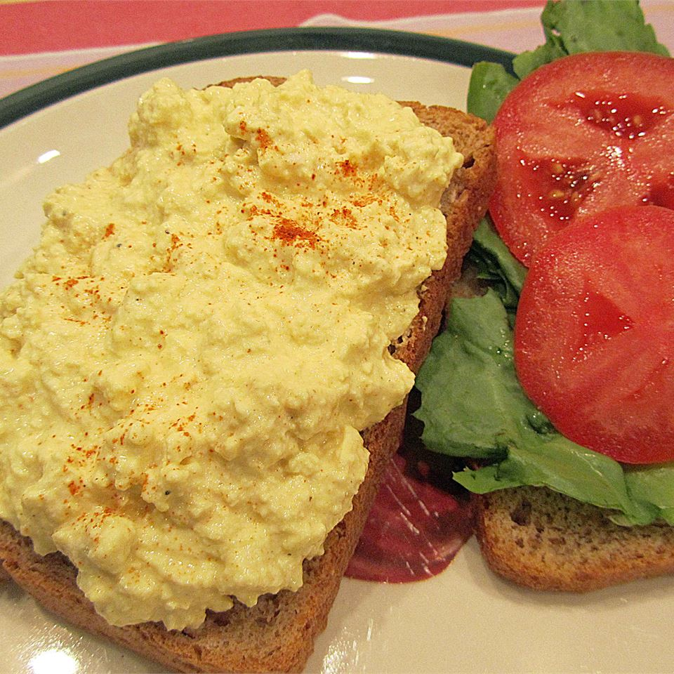 Deviled Eggless Salad in a sandwich