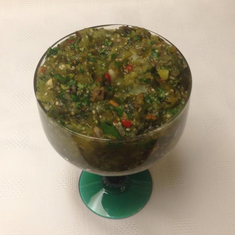 Three Chile Dry Roasted Tomatillo Salsa in a cup