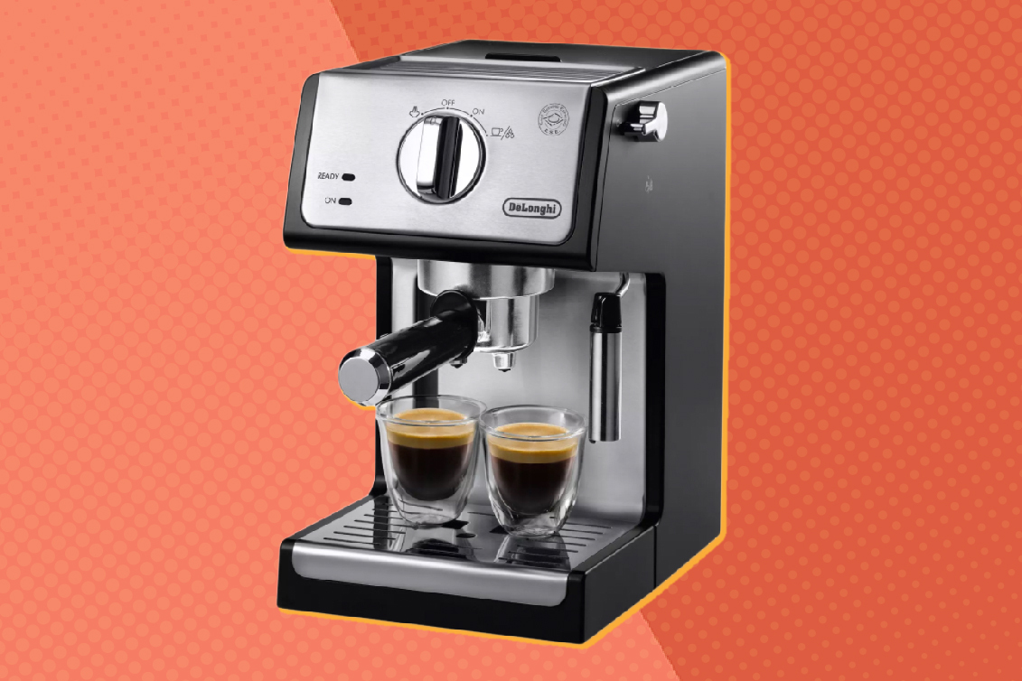 best cappuccino machines. a machine on a split orange background with yellow shadow