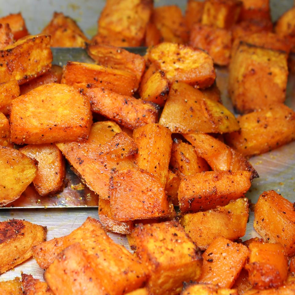 Sweet and Spicy Sweet Potatoes on a baking sheet