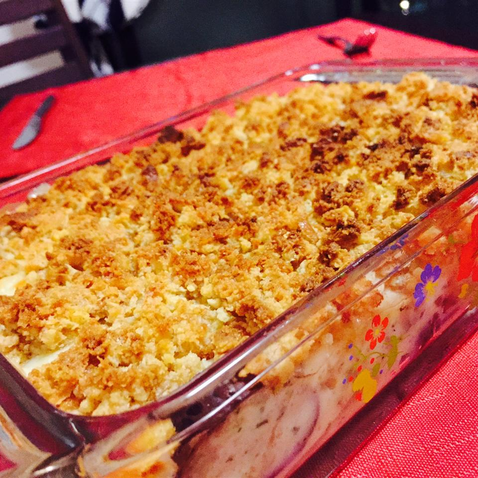 gratin in glass casserole dish on table