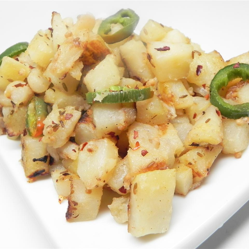 Spicy Slow Cooker Potatoes on a white plate