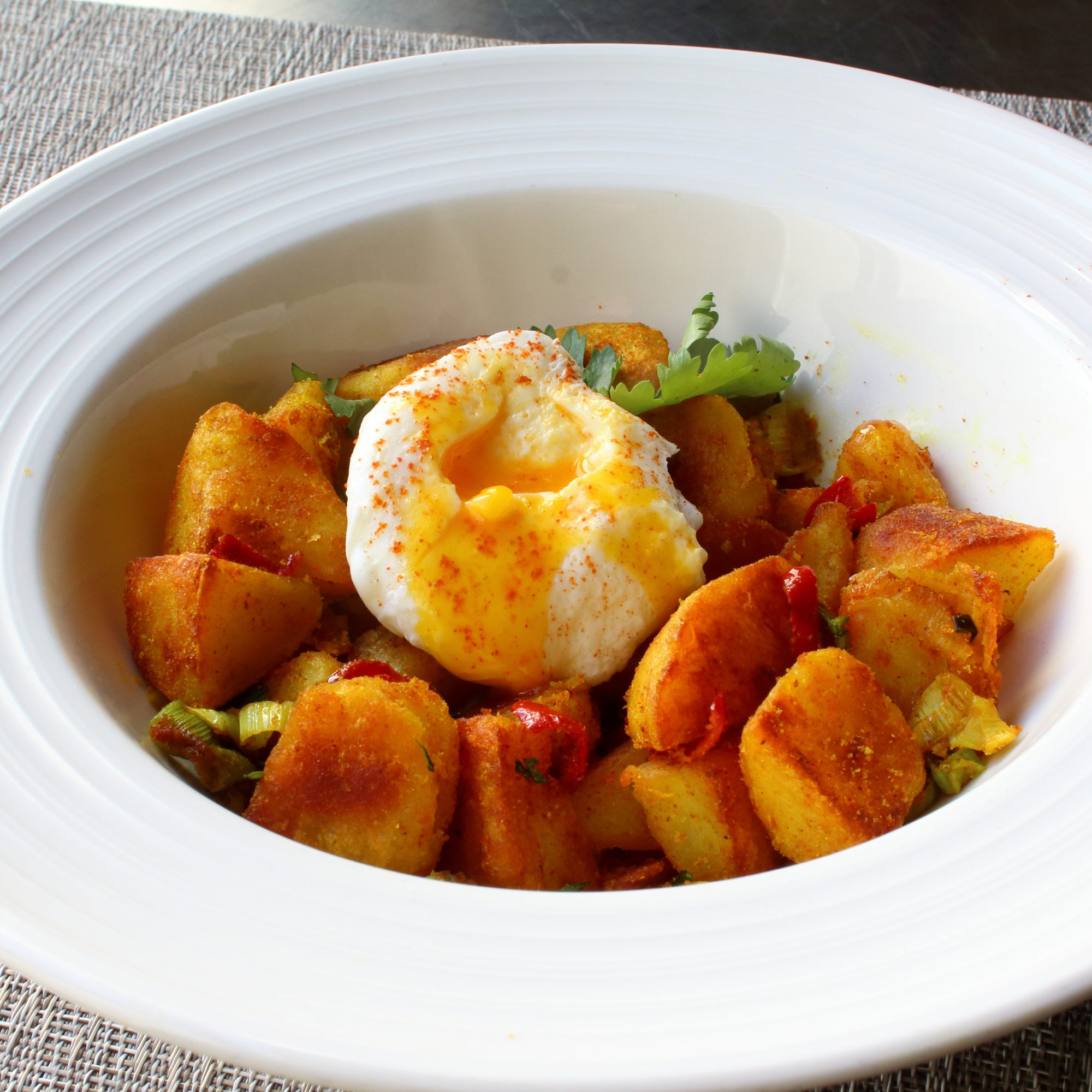 Bombay Breakfast Potatoes on a white plate