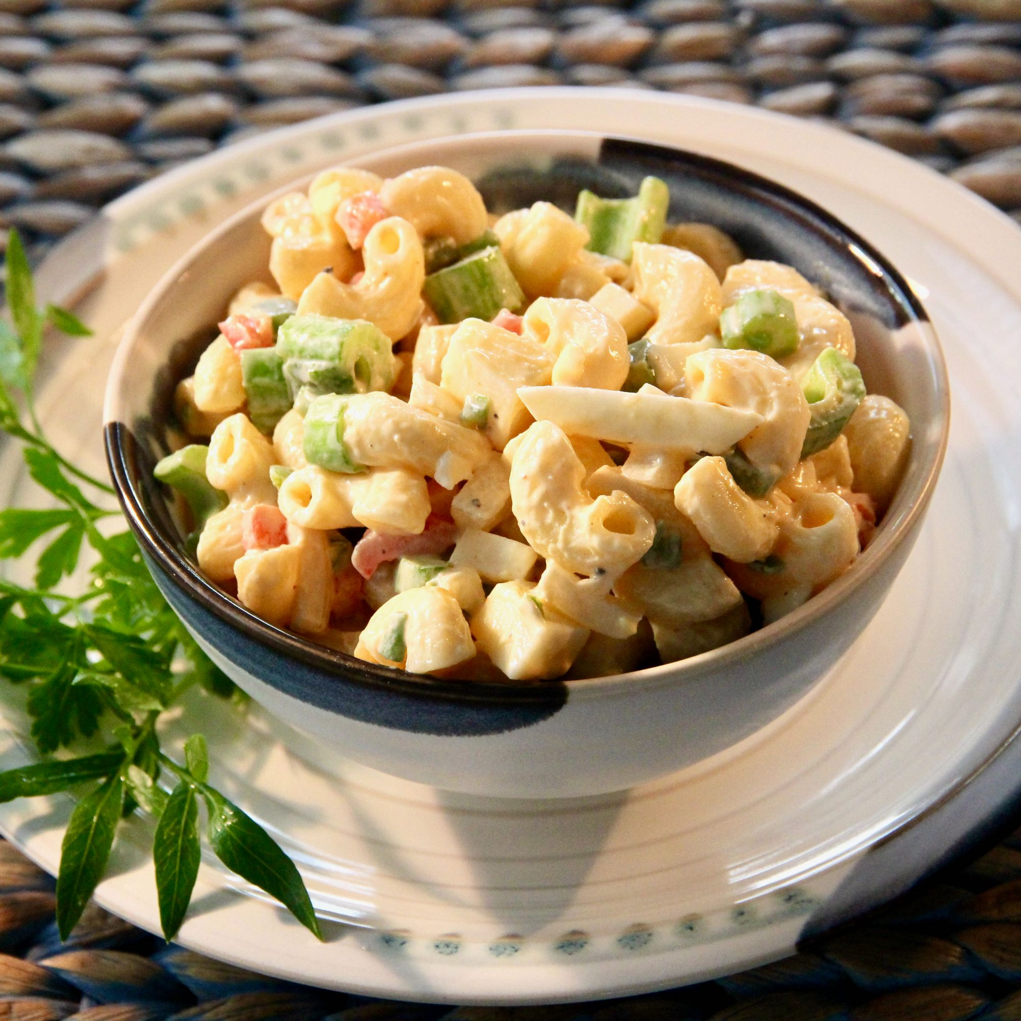 Instant Pot® Spicy Macaroni Salad in a grey bowl