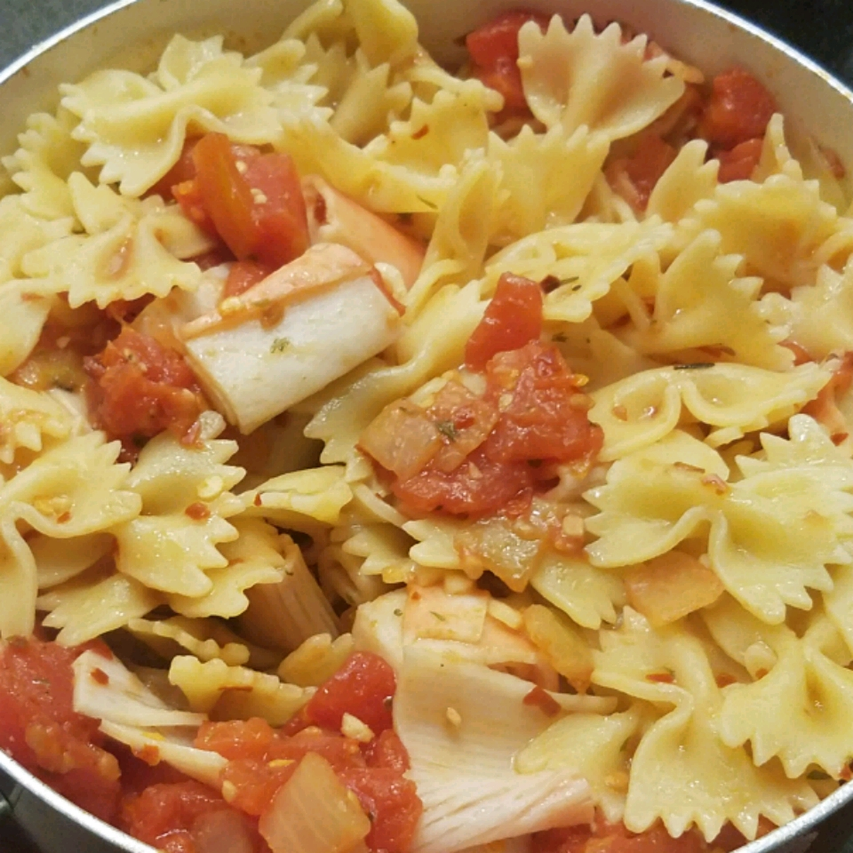 Spicy Crab Pasta in a bowl