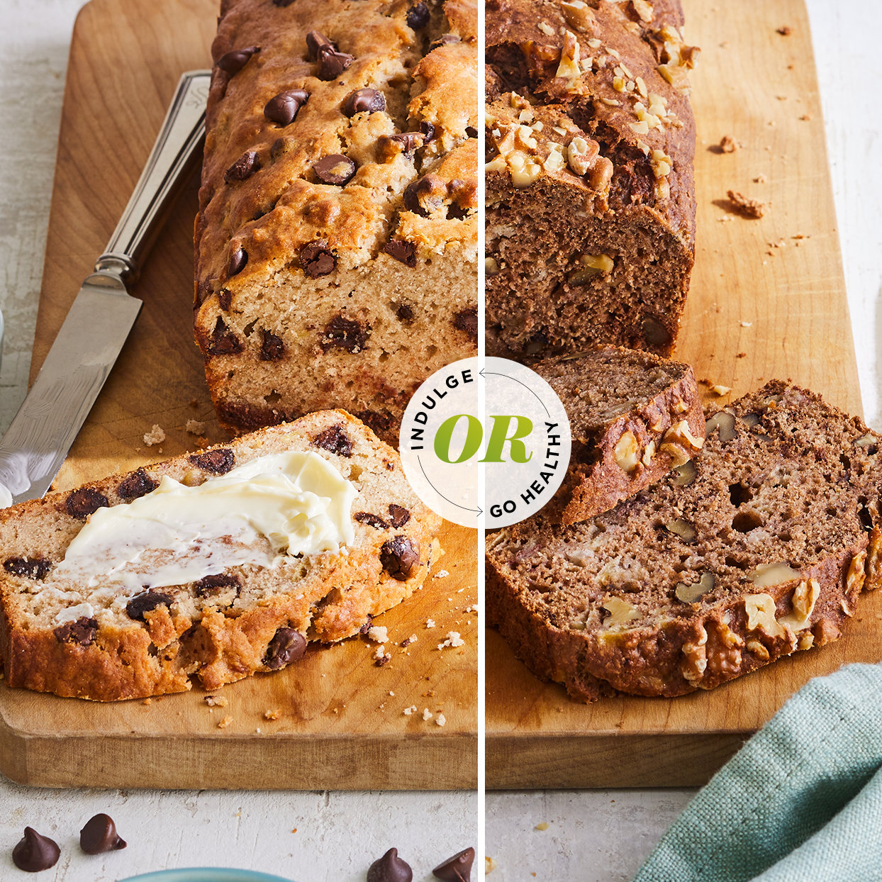 side by side composite of two kinds of breakfast breads, one with healthier ingredients