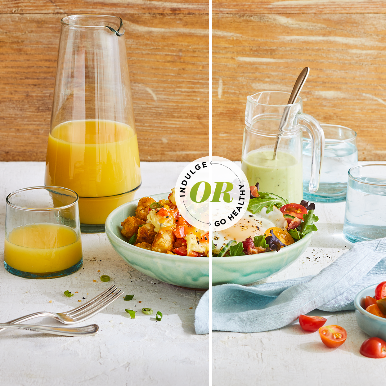 composite image of side by side breakfast bowls, one with healthier ingredient choices