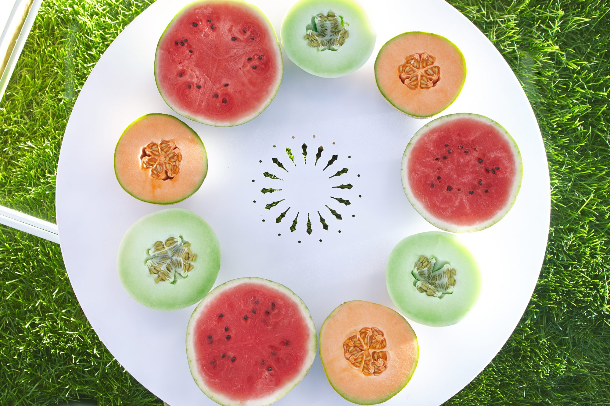 watermelon, cantaloupe, and honeydew melons