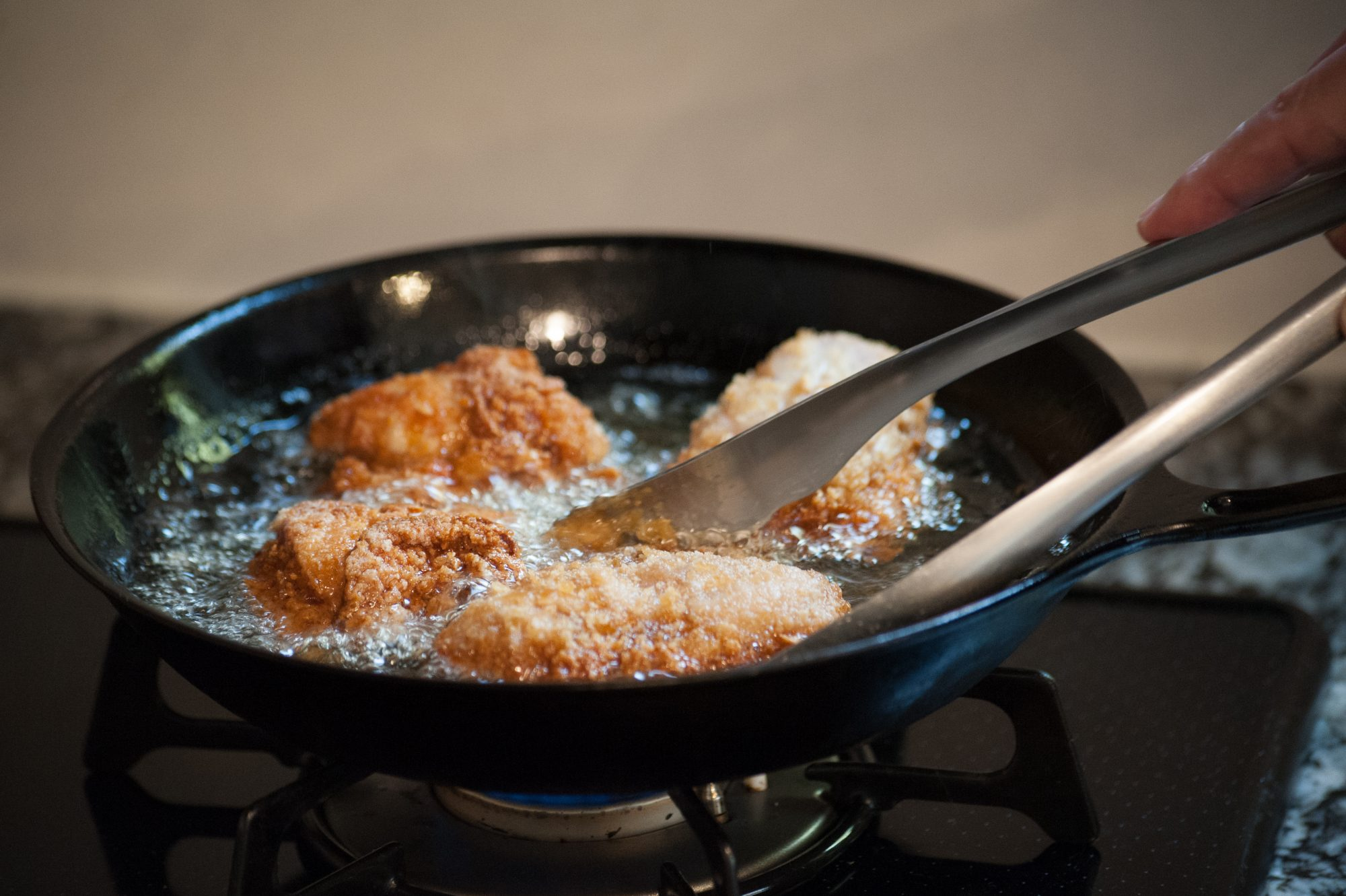Cooking fried chicken