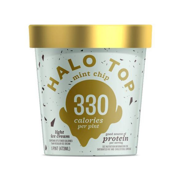 Halo Top Mint Chip Ice cream pint with gold lid