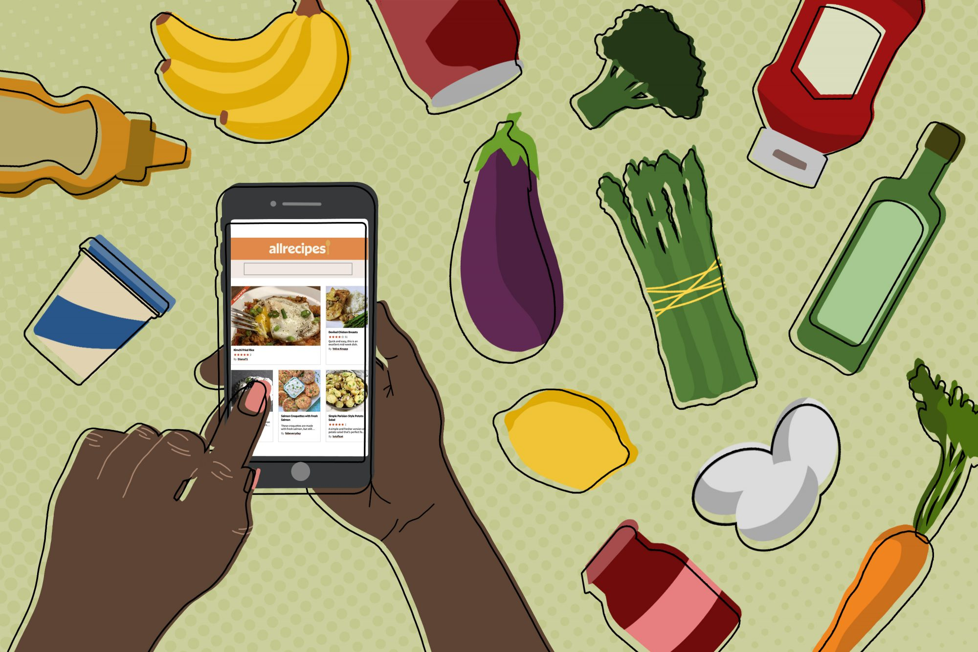 hands using Allrecipes on mobile phone with groceries in the background