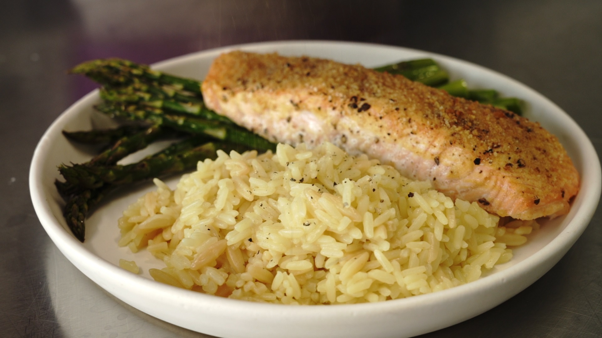 baked salmon fillets dijon with rice and asparagus