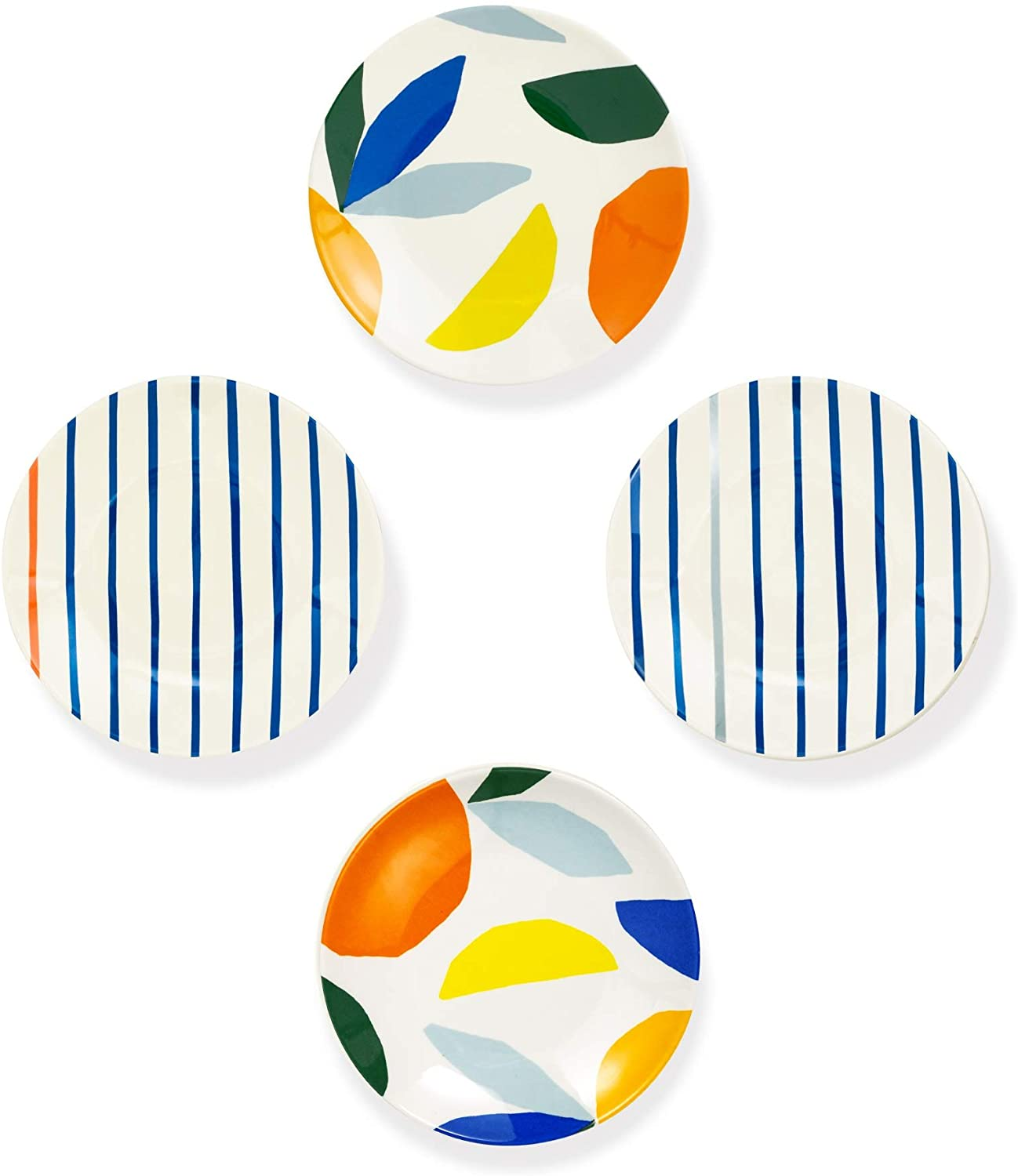 set of four salad plates with stripe and abstract shape motifs