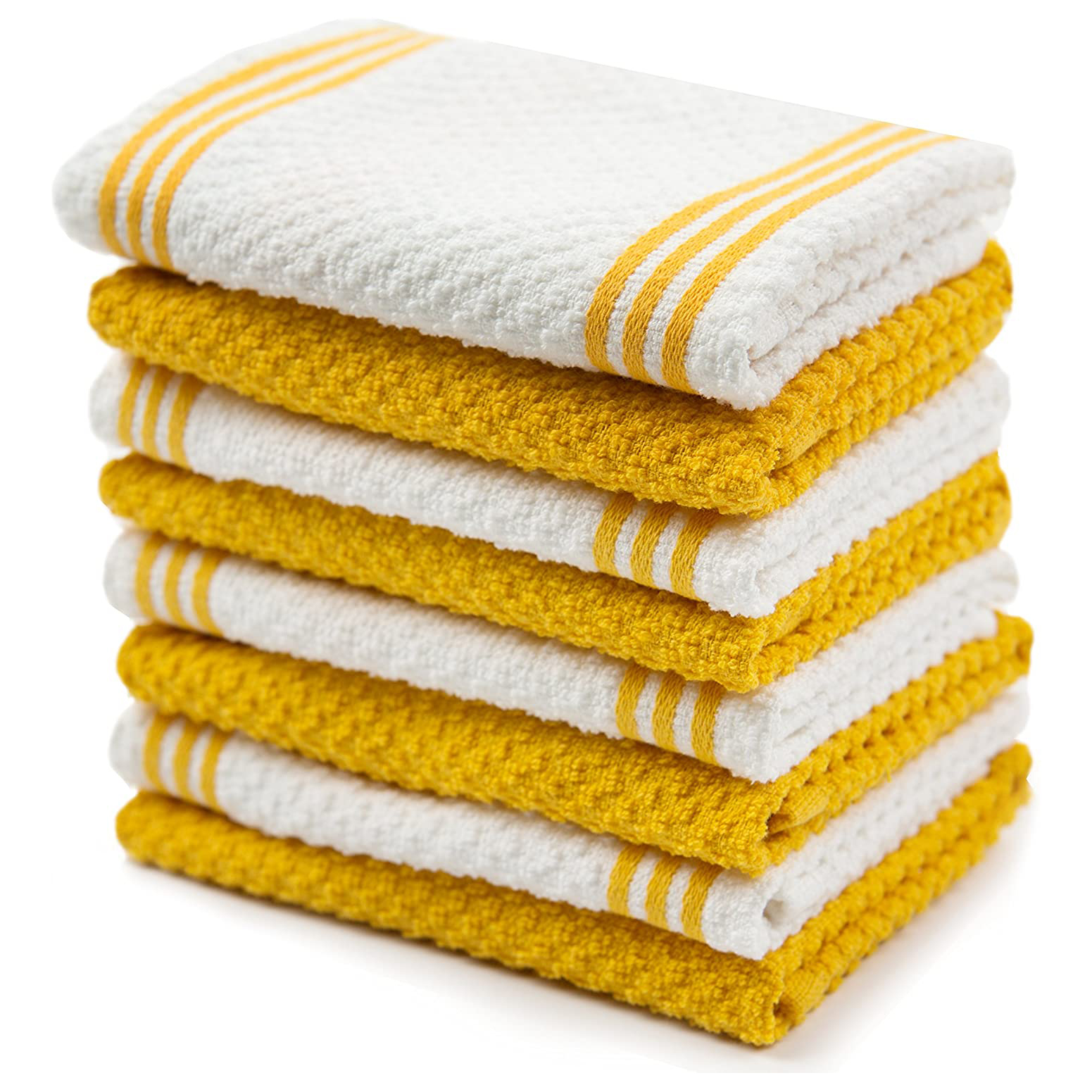Sticky Toffee Cotton Terry Kitchen Dishcloth Towels, 8 Pack, 12 in x 12 in, Yellow Stripe