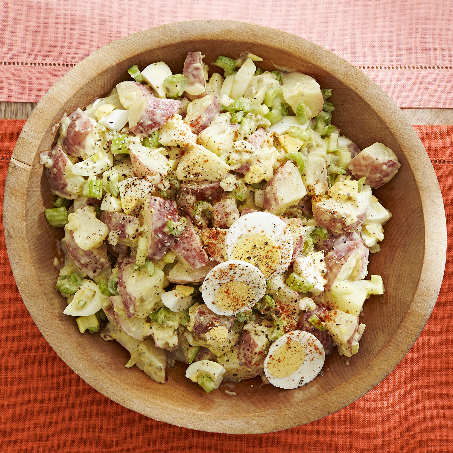 Old Fashioned Potato Salad recipe in a wooden bowl