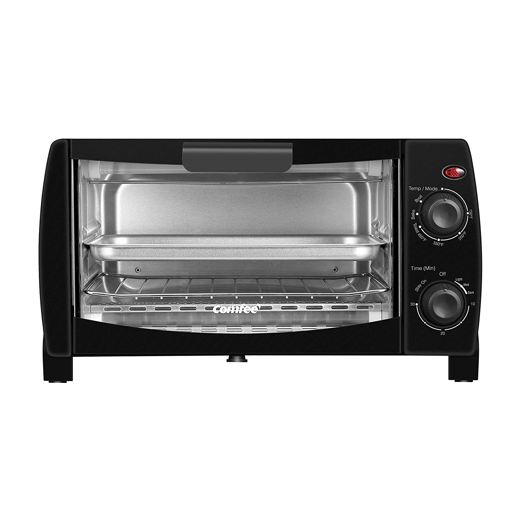 black tabletop toaster oven by comfee