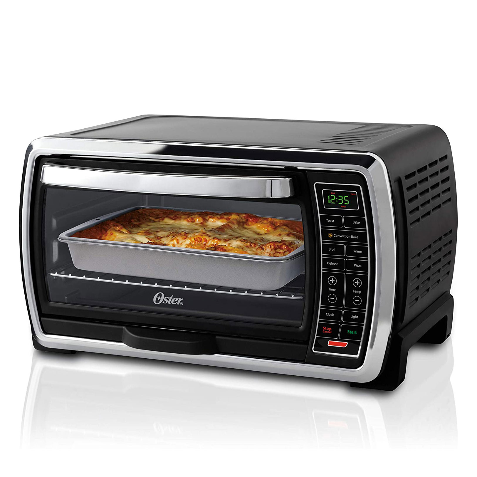 black toaster oven with casserole inside