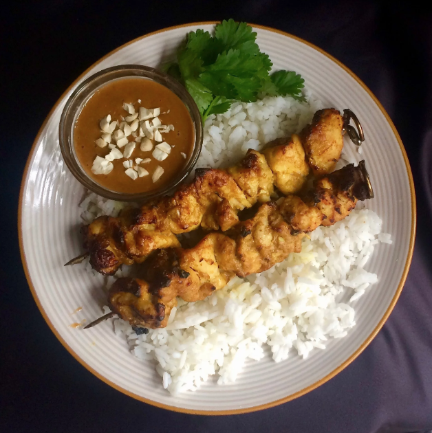 Air Fryer Chicken Satay with Dipping Sauce
