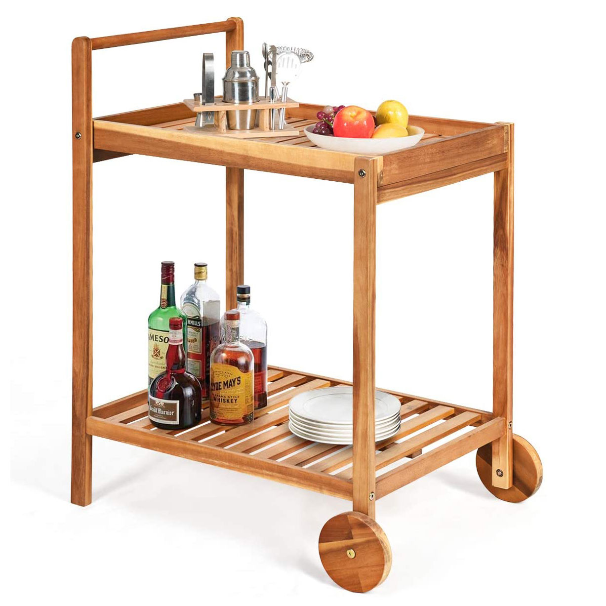 wooden bar cart with wheels at the front