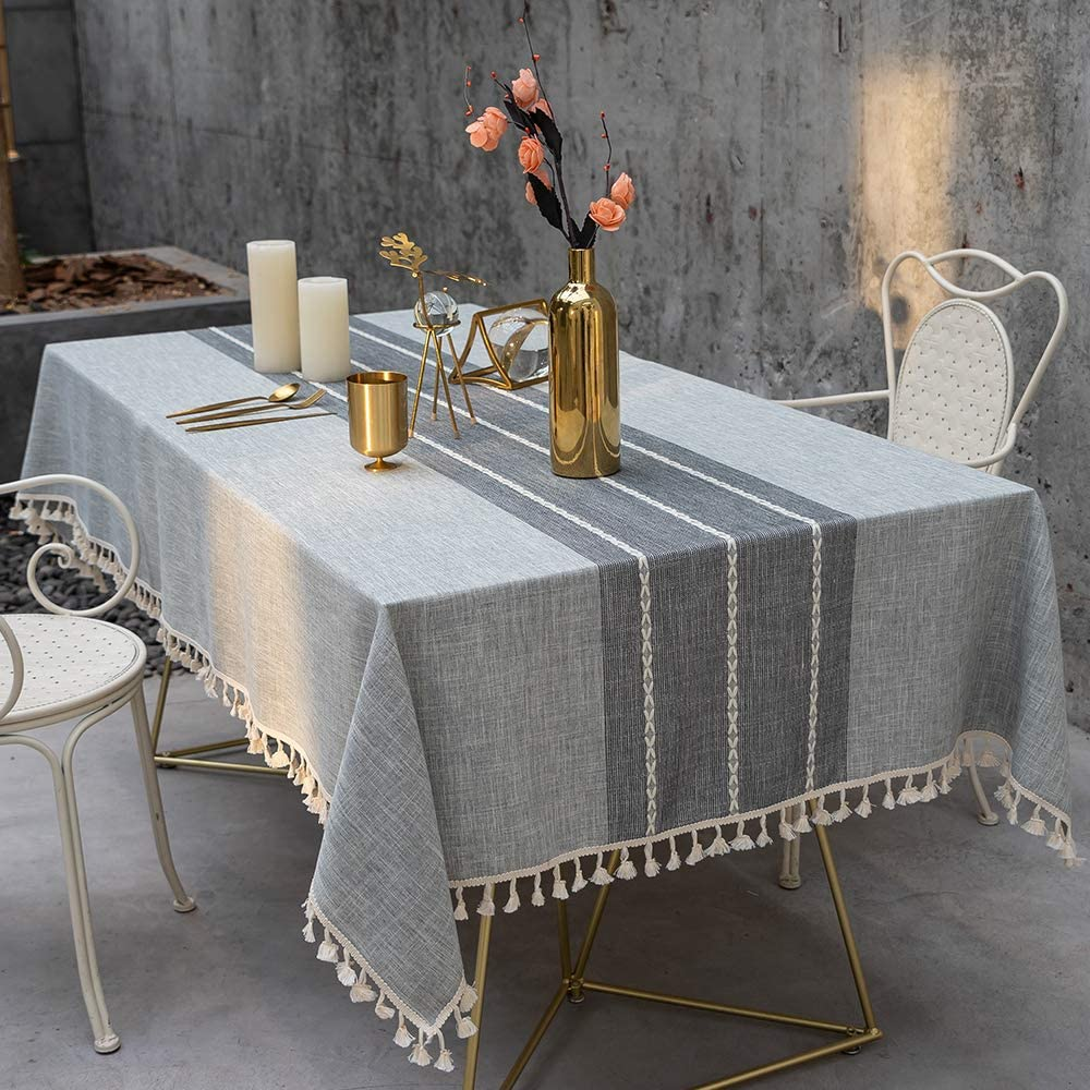 linen tablecloth with fringe