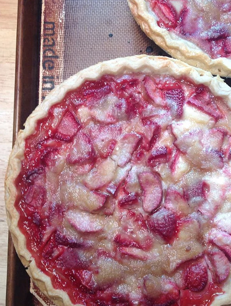Two cups of sour cream and an ample amount of butter takes this strawberry-rhubarb pie from fresh and fruity to creamy and decadent.