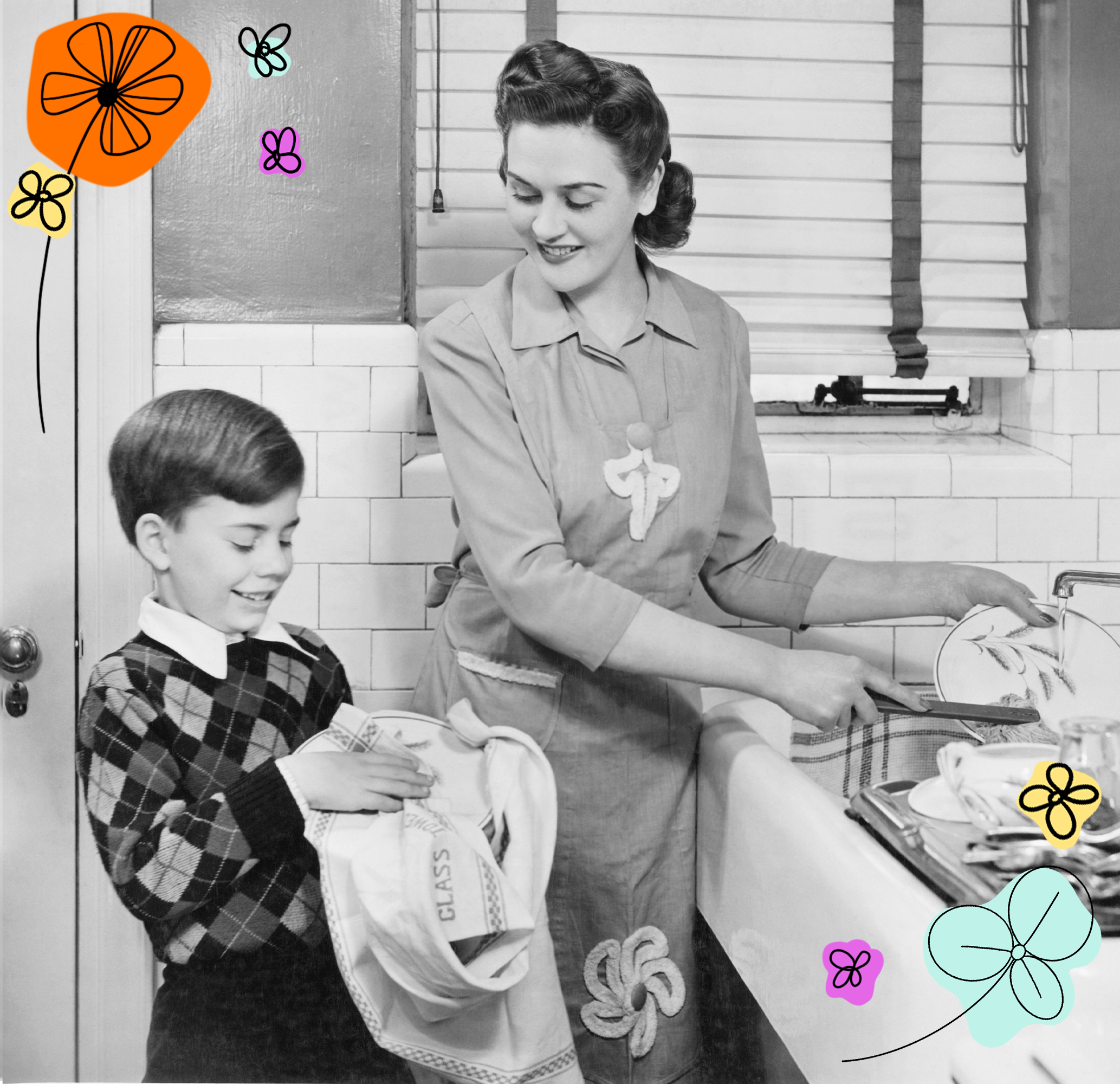 mother and sol cleaning the dishes in the kitchen