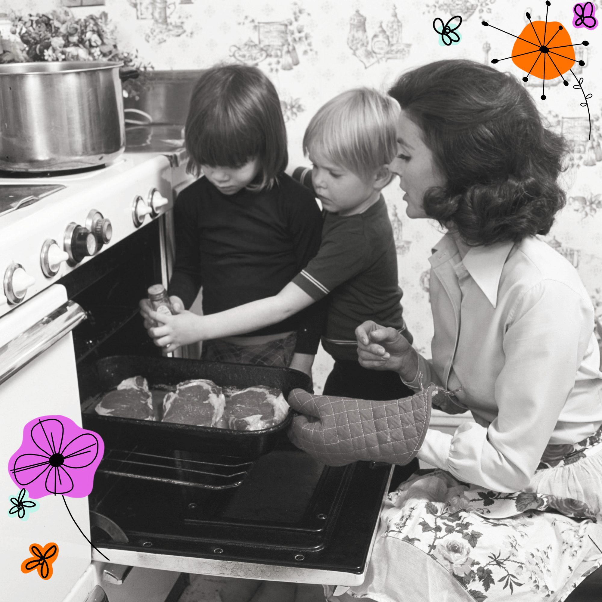mother and two children over an open oven