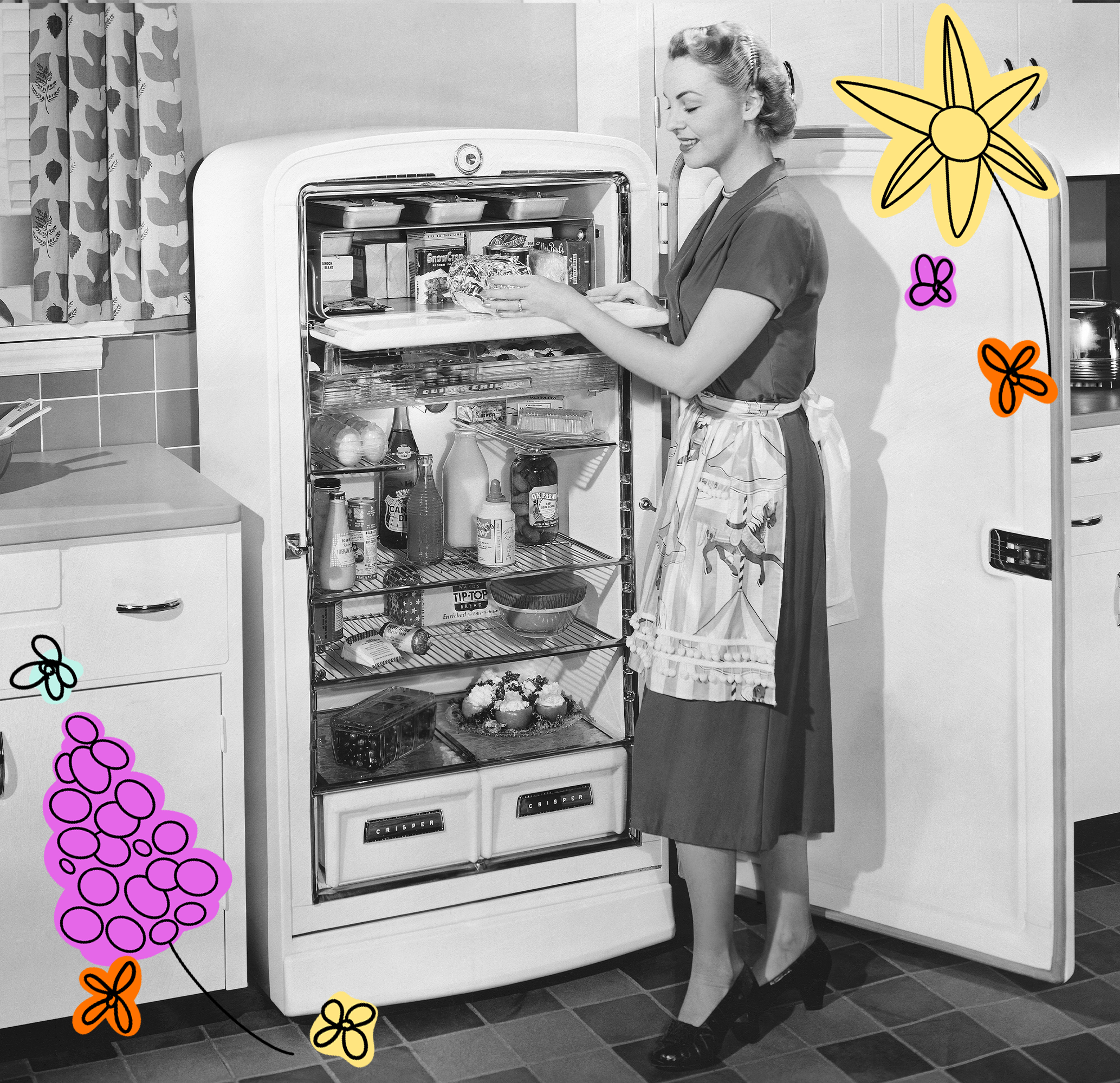 vintage photograph of a woman taking an ingredient out of the refrigerator