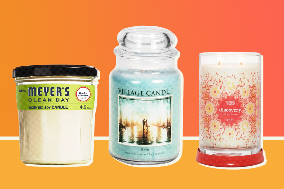three candles on a two-tone orange background