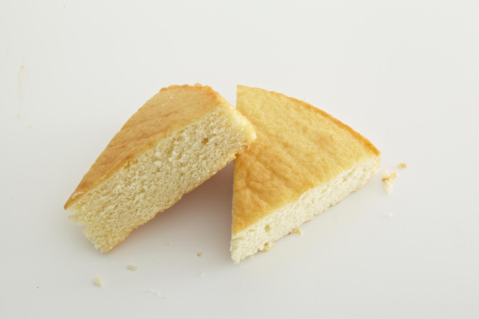 wedges of plain yellow cake