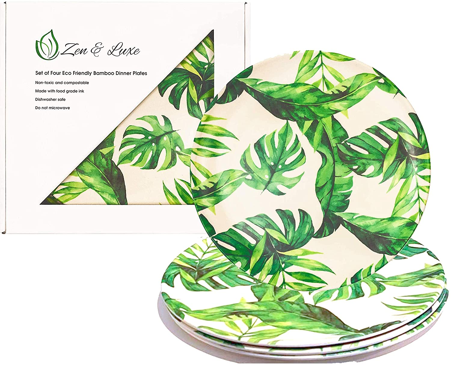 off-white plates with leaf pattern