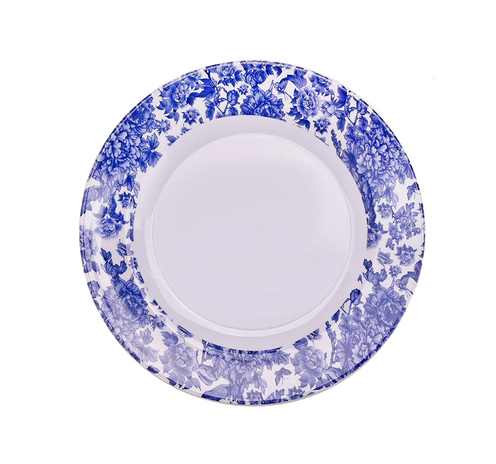 white plate with blue floral border