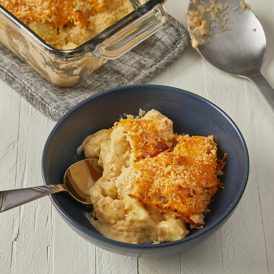 Baked Gnocchi Mac and Cheese in a blue bowl