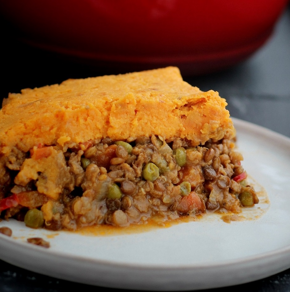 Dutch Oven Plant-Based Cottage Pie with Sweet Potatoes