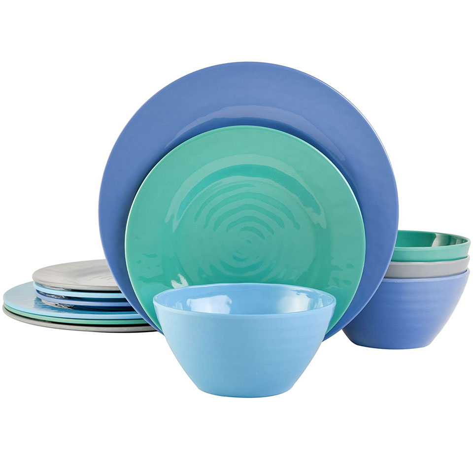 blue and green plates and bowls