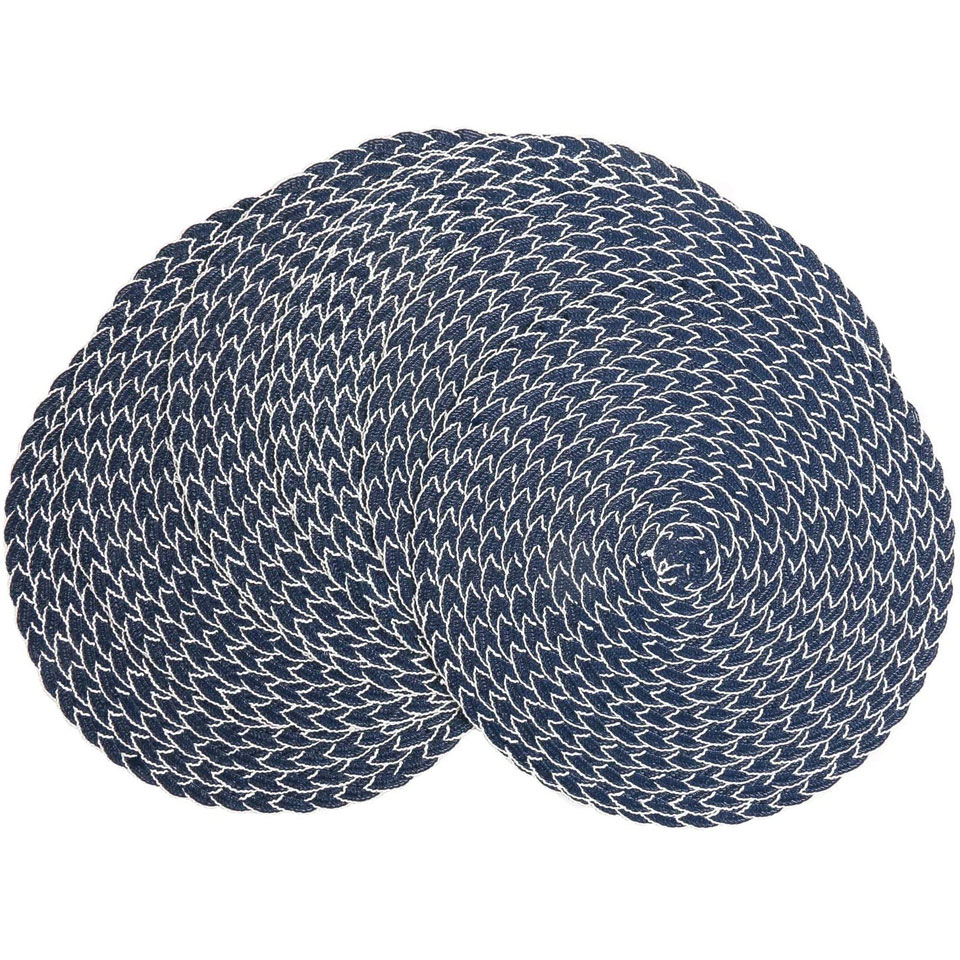 SHACOS Round Braided Placemats 15 inch Set of 6 Thick Washable Kitchen Table Placemats