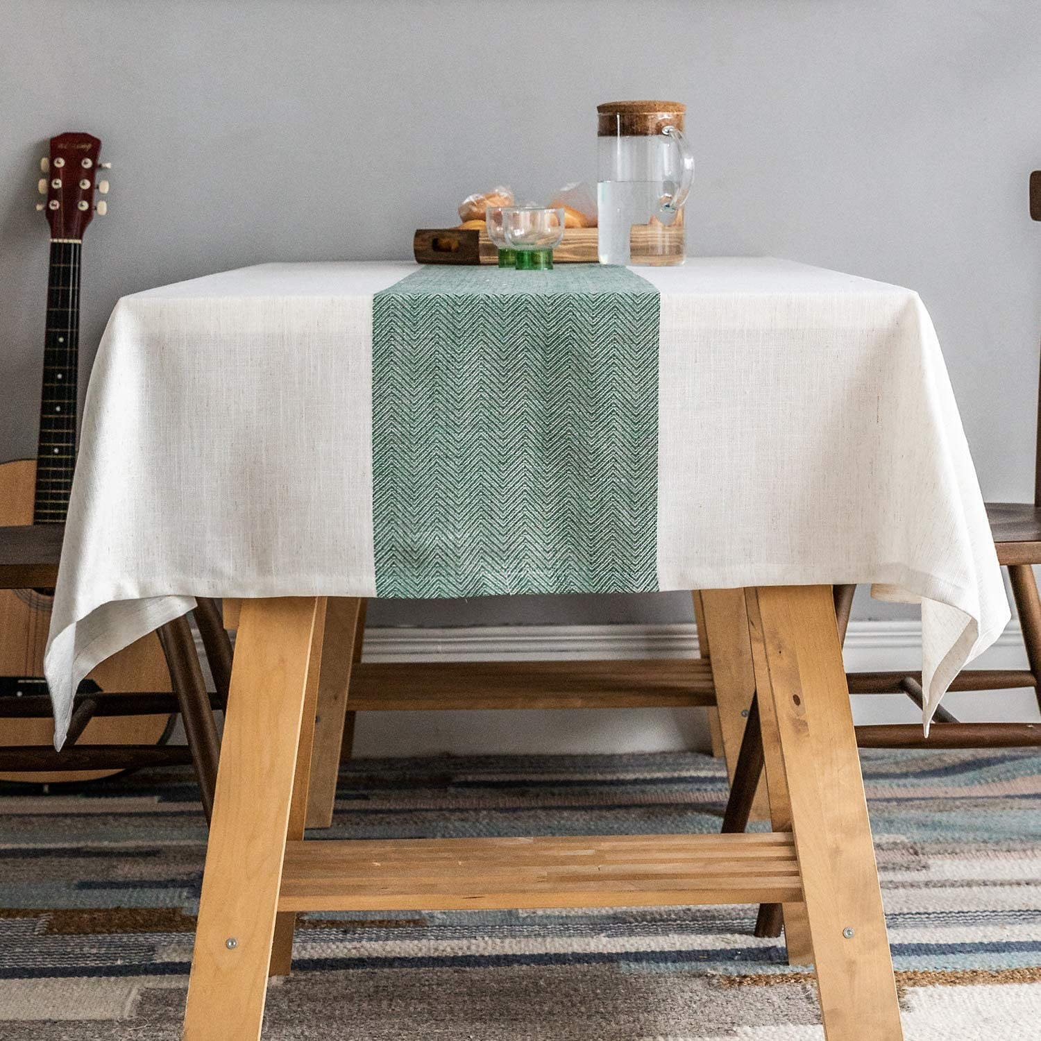 natural linen and green tablecloth