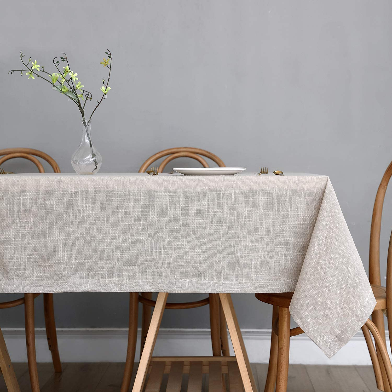 Maxmill Lux Faux Linen Table Cloth with Slubby Texture