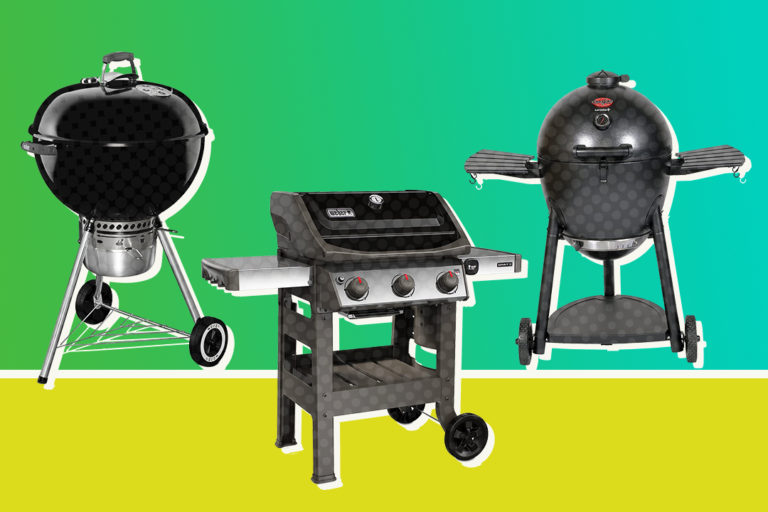 three grills on a two-tone background of green and lime