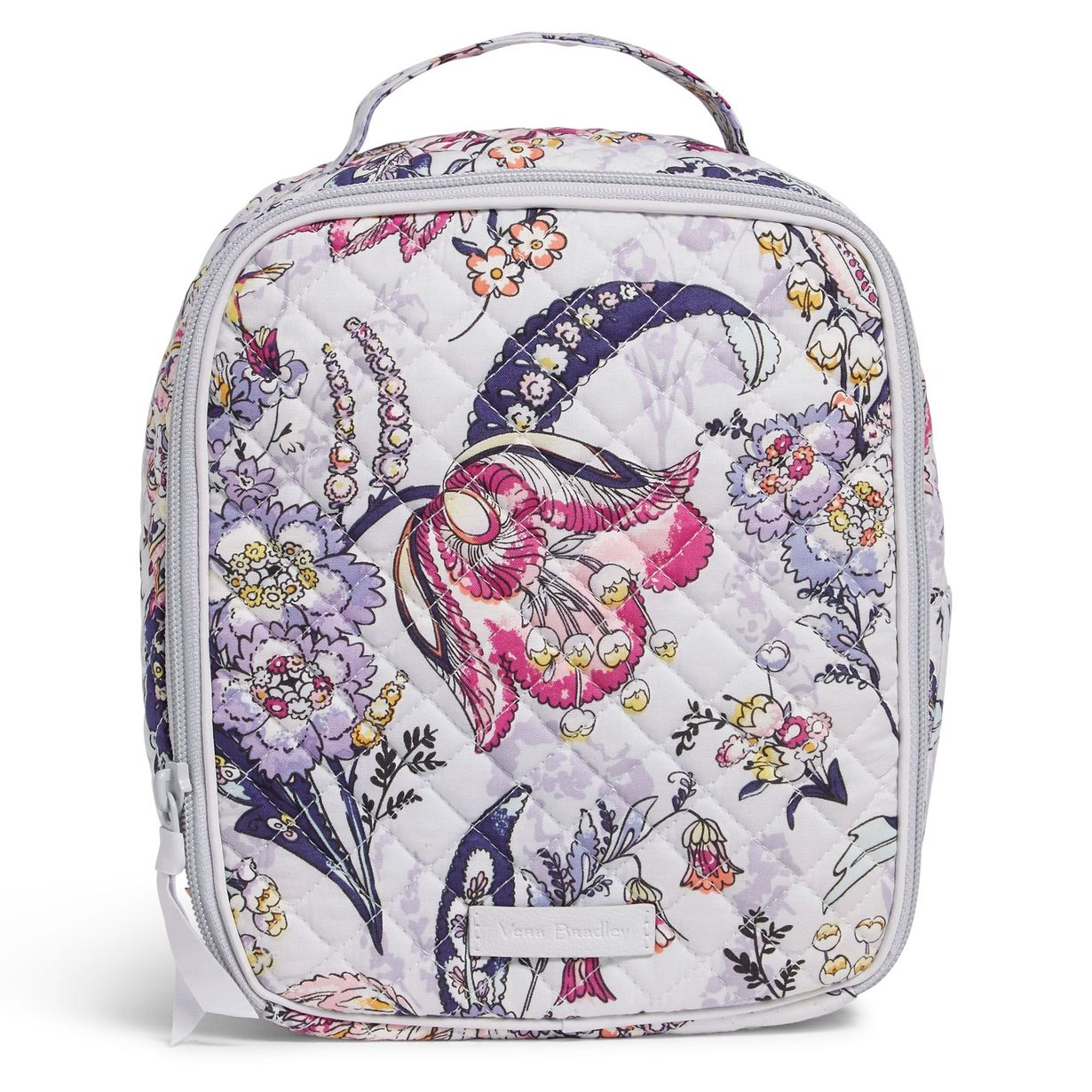 light purple lunch bag with purple and pink floral pattern