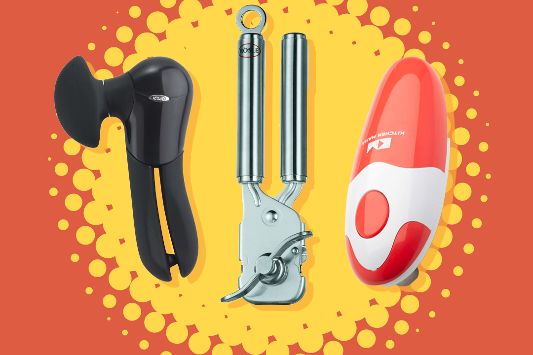 best can openers - three types of can openers on a yellow burst background