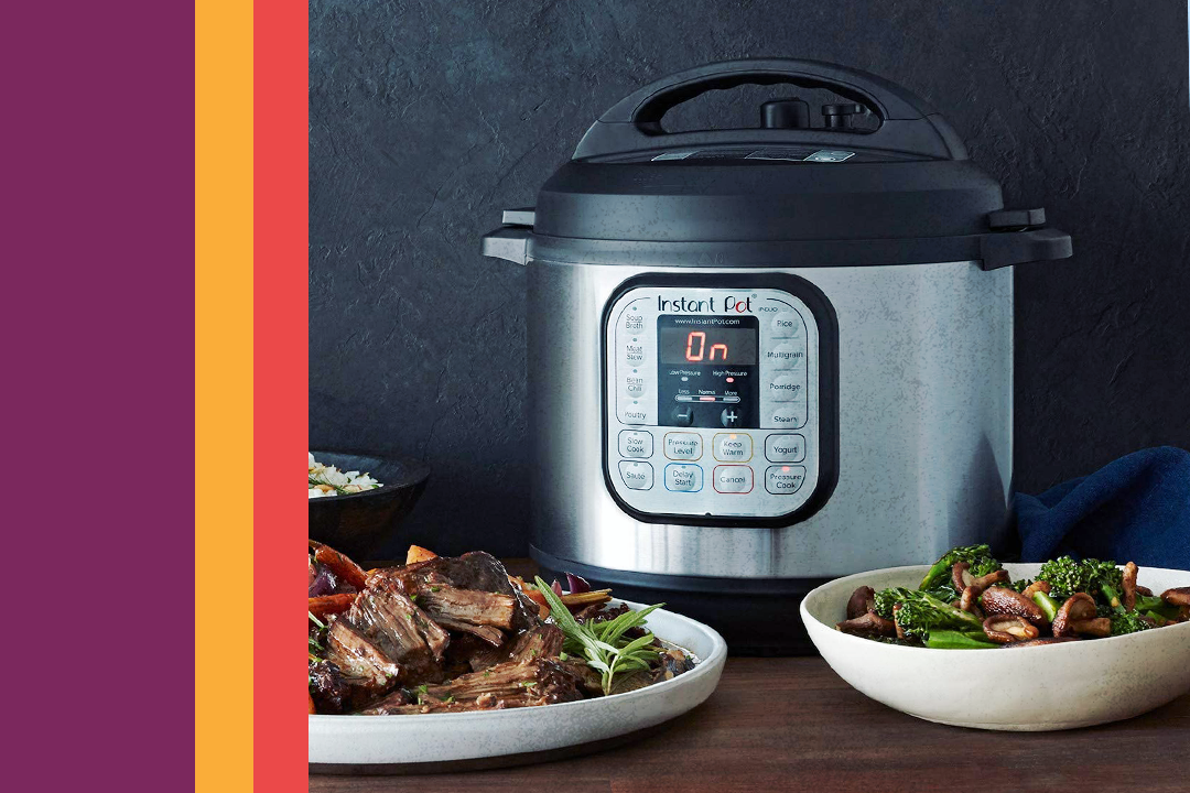 instant pot pressure cooker with food around it