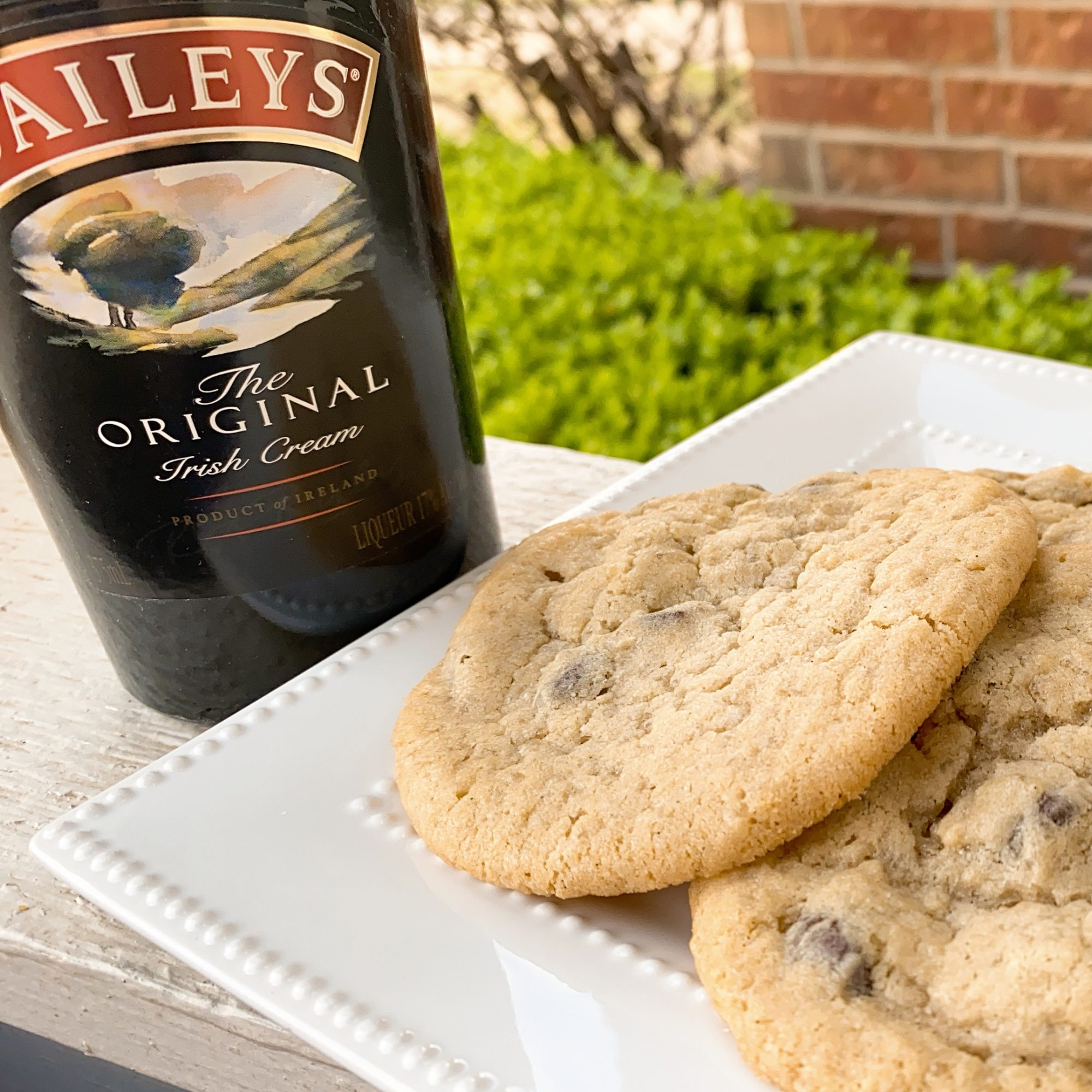 Baileys® Chocolate Chip Cookies on a white plate
